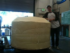 Author Nick Raymond next to the foam buoy before the epoxy resin is applied.