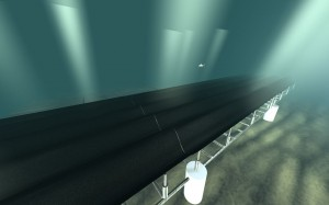 "A mechanical ""carpet"" along the seafloor, shown in this illustration from University of California, Berkeley, is designed to absorb wave energy and convert it to electricity. The concept is just one of many being tested to capture the ocean's energy."